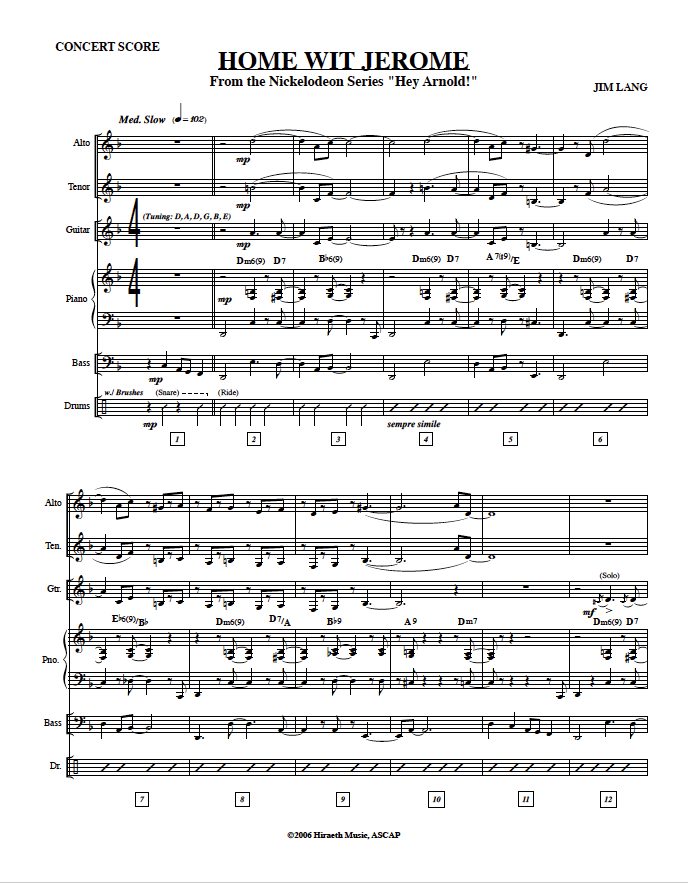 Scores - Jim Lang Music
